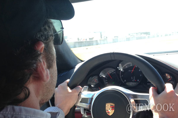 Patrick Dempsey driving around the track at Sebring.
