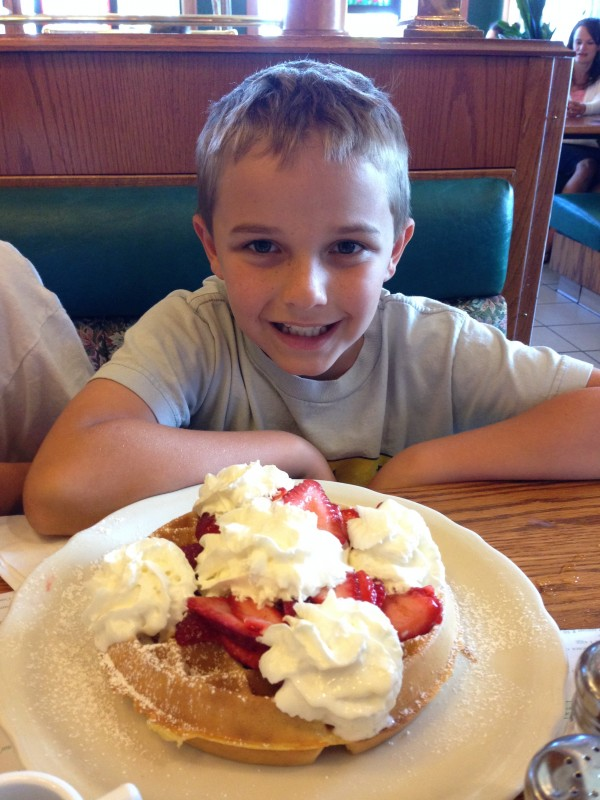 Giant strawberry waffle for Patrick!
