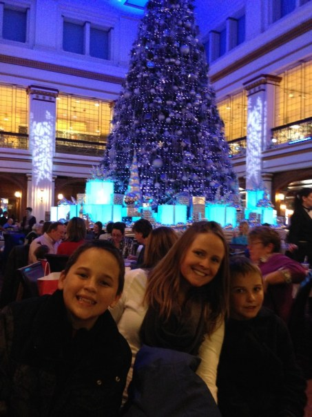 Celebrating Christmas at the Walnut Room inside Marshall Fields (OK, Macy's!).
