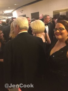 Behind the Gingrich's waiting to go through WHCD security.