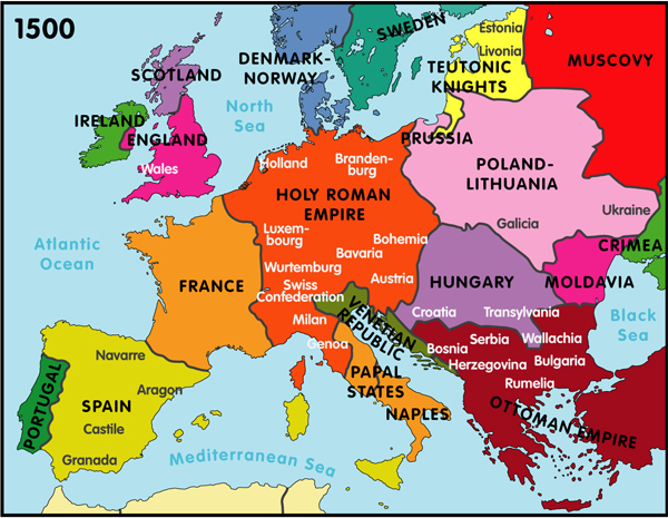 Map Europe Religions 1500