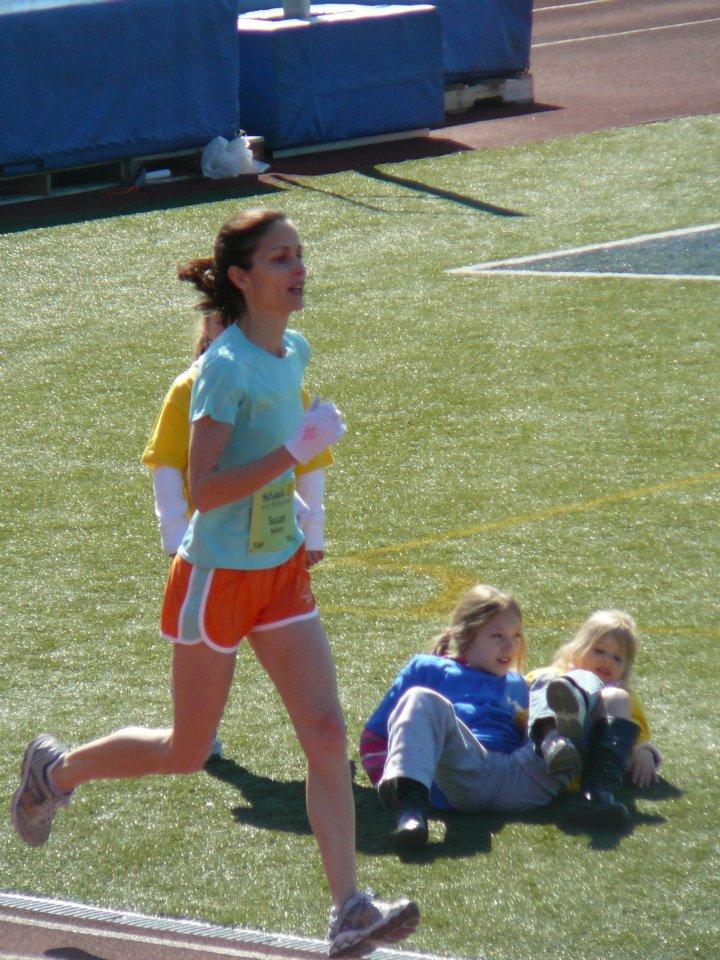 Here she is running the St. Luke's Half Marathon in Allentown, PA.