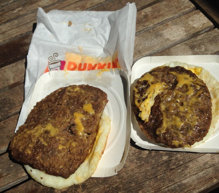 Low carb Dunkin Donuts breakfast sandwiches.