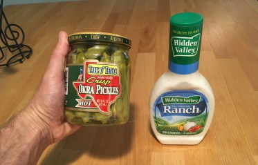 Keto Hot Pickled Okra and Ranch Ingredients