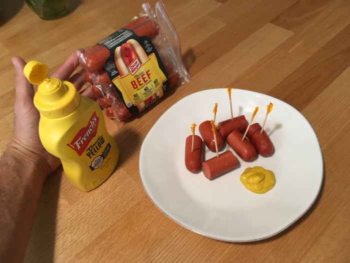 Keto Chopped Hot Dogs and Mustard