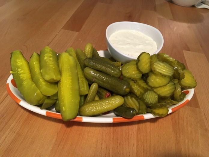 Keto Pickles on Tray