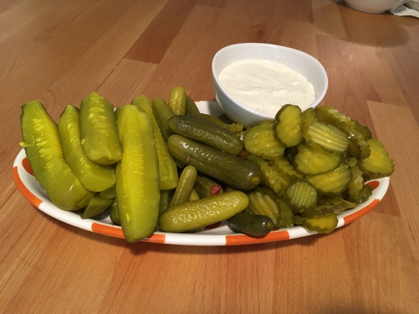 Keto Pickles on Tray