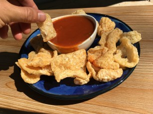 Pork Rinds with Taco Bell Sauce