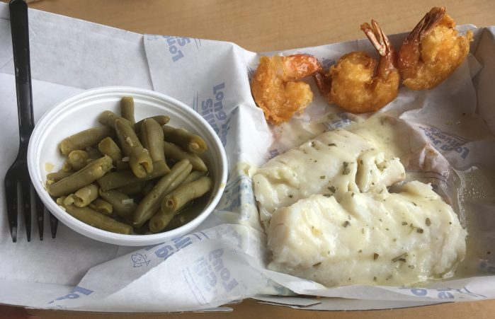 low carb Long John Silver's Baked Cod Meal.