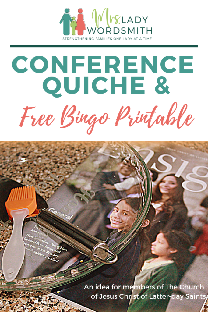 Do you enjoy LDS General Conference weekend with family? Then you know that yummy food and bingo games are part of the tradition. Here's a great recipe for quiche and 3 free bingo printables. #bingo #lds #mormon #generalconference #quiche #breakfast #hashbrown
