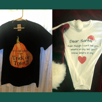 Halloween and Christmas Tshirts for Nonverbal Kids