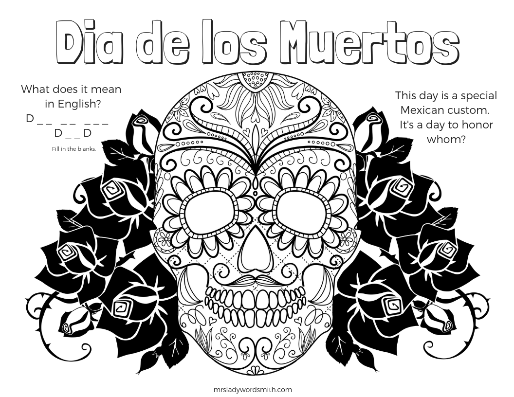 Dia de los Muertos Free Printable and Coloring Page to