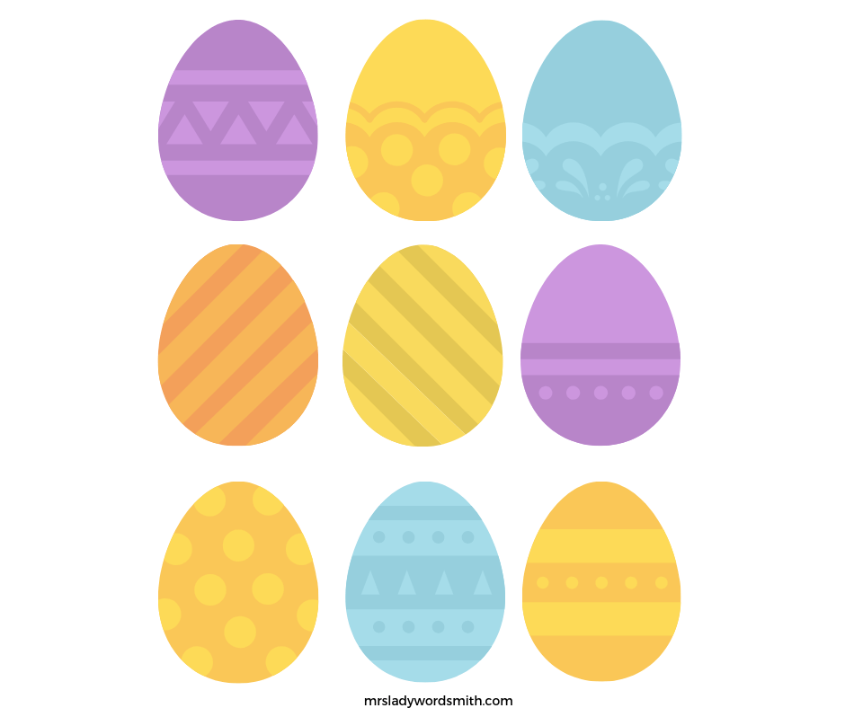 Free colored Easter egg printable game.