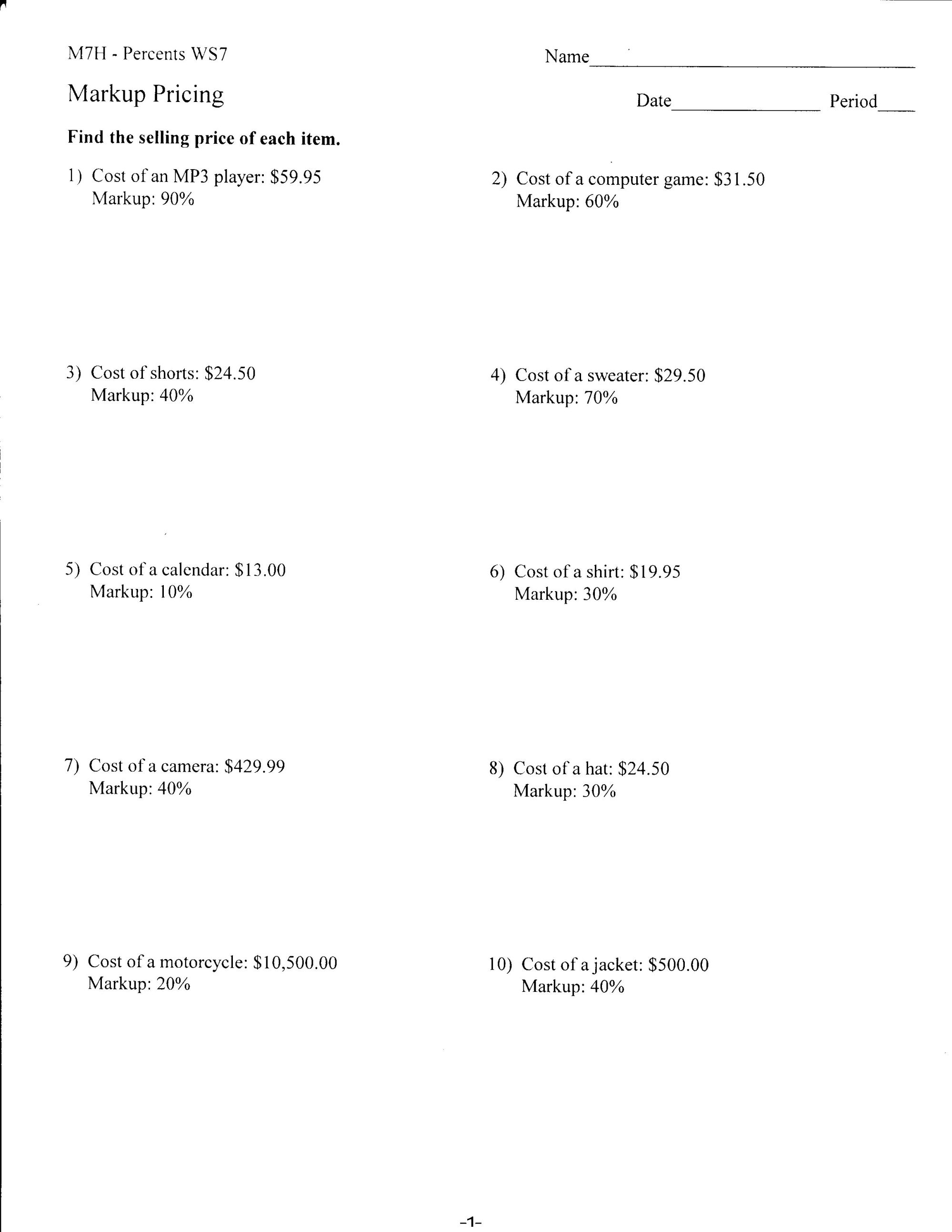 hight resolution of Percent Interest Worksheets   Printable Worksheets and Activities for  Teachers