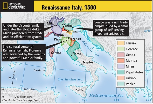 Renaissance Europe 1500 Map Italy