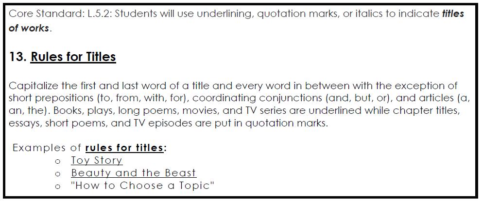 Essay Writing Underline Title