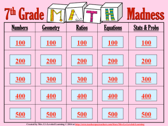 Math Madness Quiz Game Board