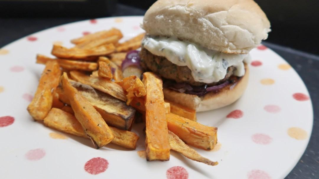 Minted Lamb Burgers and Sweet Potato Fries