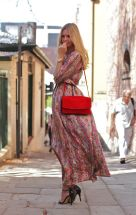 Maxi Dress with Heels and Red Bag