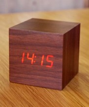 I got this clock from amazon.com and it is pretty cool looking. It looks like a block of wood, except it is noise-activated, so when you clap it shows you the time. It does have the downside of running out of battery insanely fast for some reason. Like, it lasts me two days. Gets on my nerves.