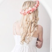 Beautiful pink flowers and gorgeous hair curls!