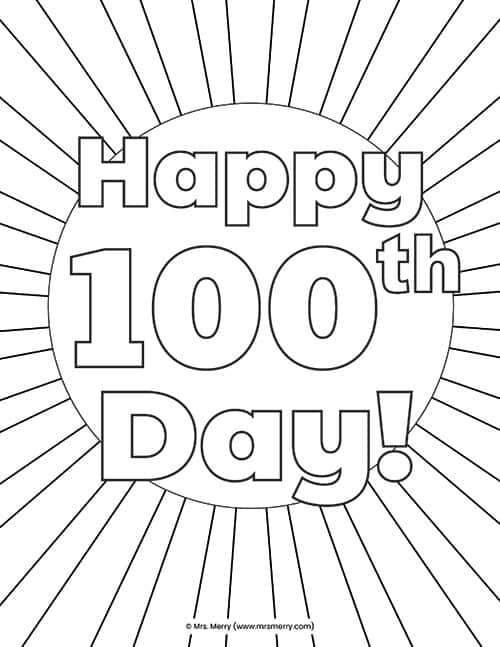 100 Days Coloring Pages : coloring, pages, School, Activities, Coloring, Pages, Printables, Merry