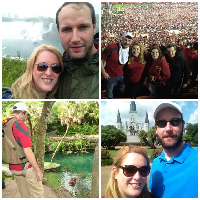 Photos of Mrs. Millennial and the hubby at some of the free trips we did this past year thanks to travel credit cards