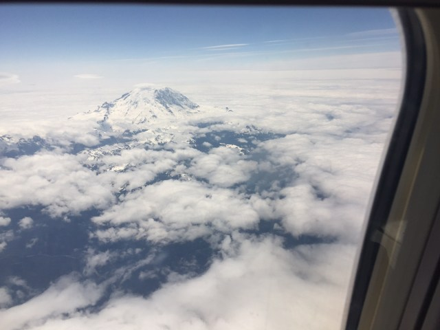 A great view of Mt. Rainier from above the clouds on our flight to Seattle