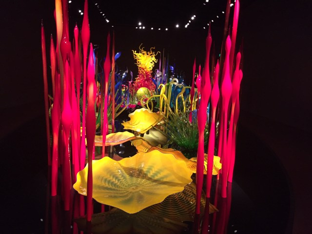One of the impressive indoor displays at the Chihuly Gardens in Seattle