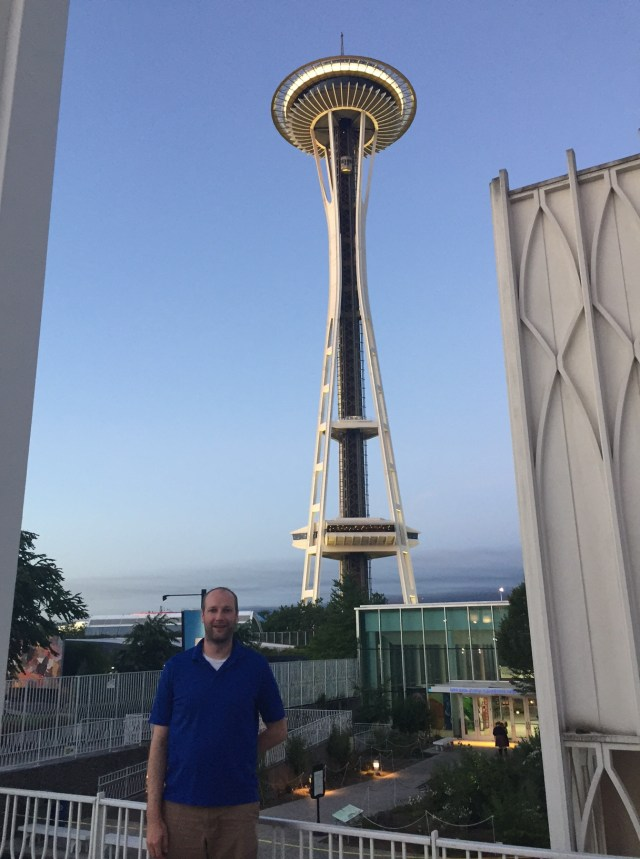 A great view of the Space Needle from the Pacific Science Theater in Seattle.