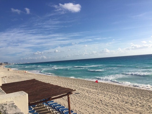 The beachfront at our all inclusive resort in Cancun