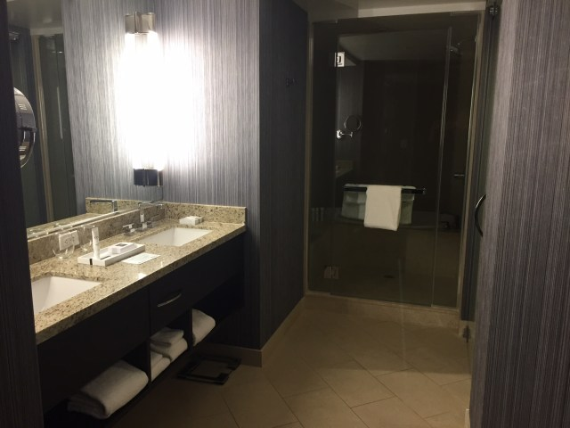 Bathroom of a guest room at the Aria in Las Vegas