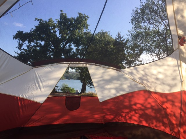 View from a tent at Muleshoe Bend Campground