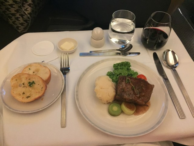Lamb breast with mashed potatoes on SIngapore Airlines IAH to MAN