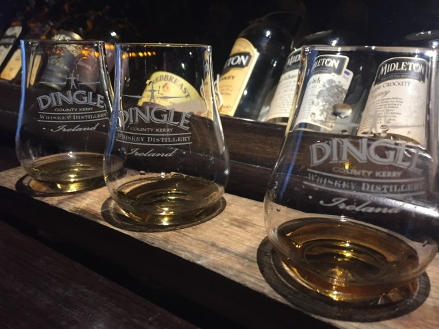 A whiskey flight at the Dingle Whiskey Bar.