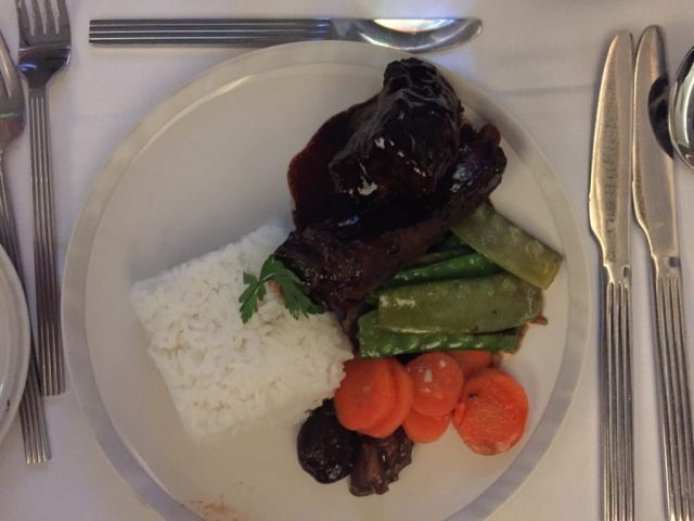 Braised Pork Ribs with Chinese Vegetables and Steamed Rice on Singapore Airlines MAN to IAH.
