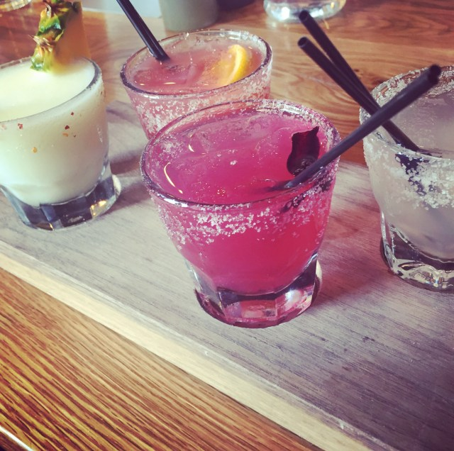 The margarita flight from Port Fonda in Lawrence, Kansas, contained a traditional margarita, a hibiscus margarita, a blood orange margarita, and my favorite, the Fonda Collada.