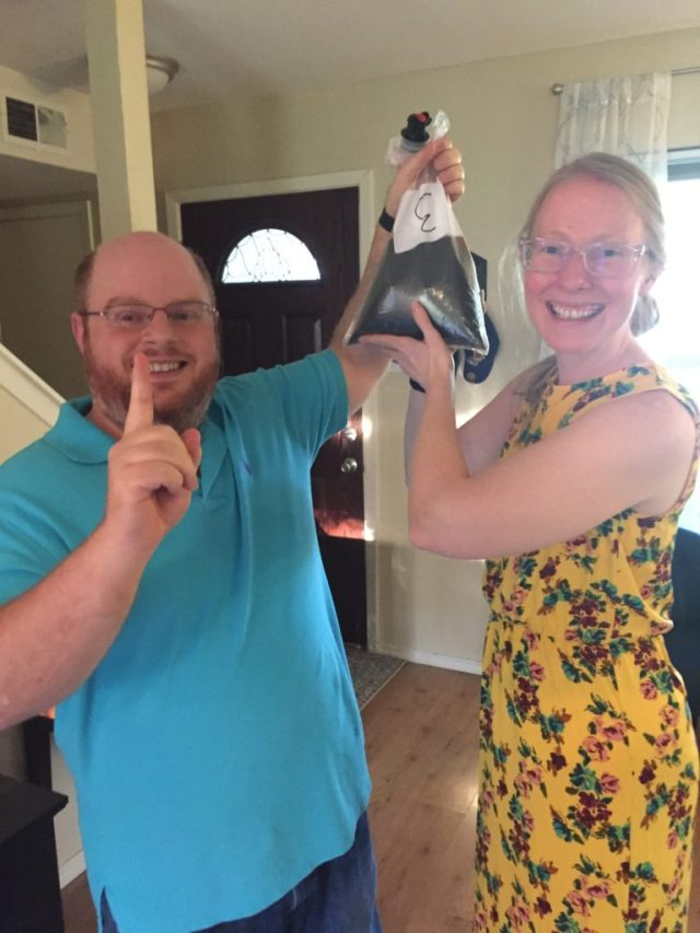 The winners with their winning bag-o-wine, the Bota Box Cabernet Sauvignon.