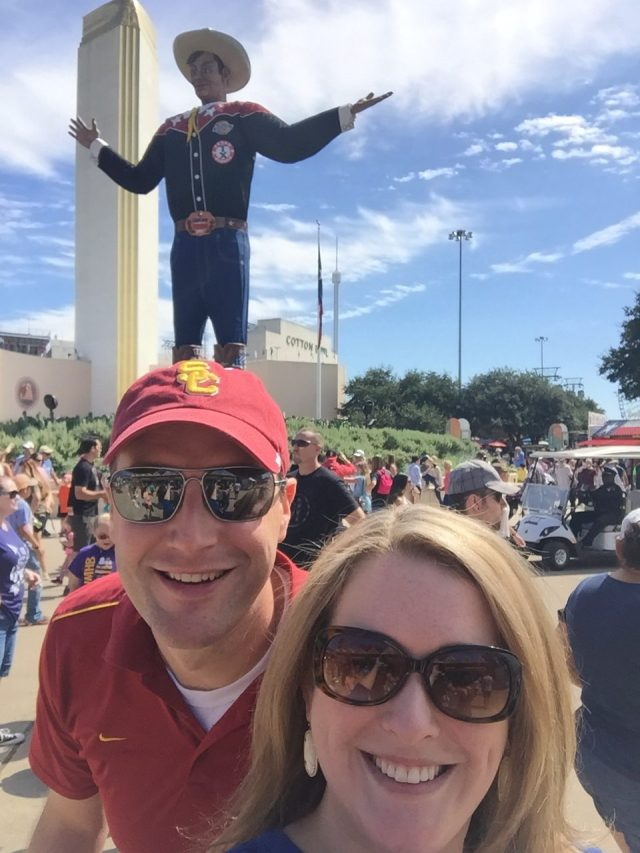 Big Tex, the hubby, and me at the State Fair of Texas