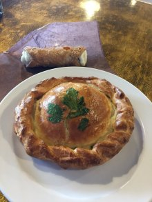 Sultan's Hat made with potato, goat cheese, spinach and caramelized onion