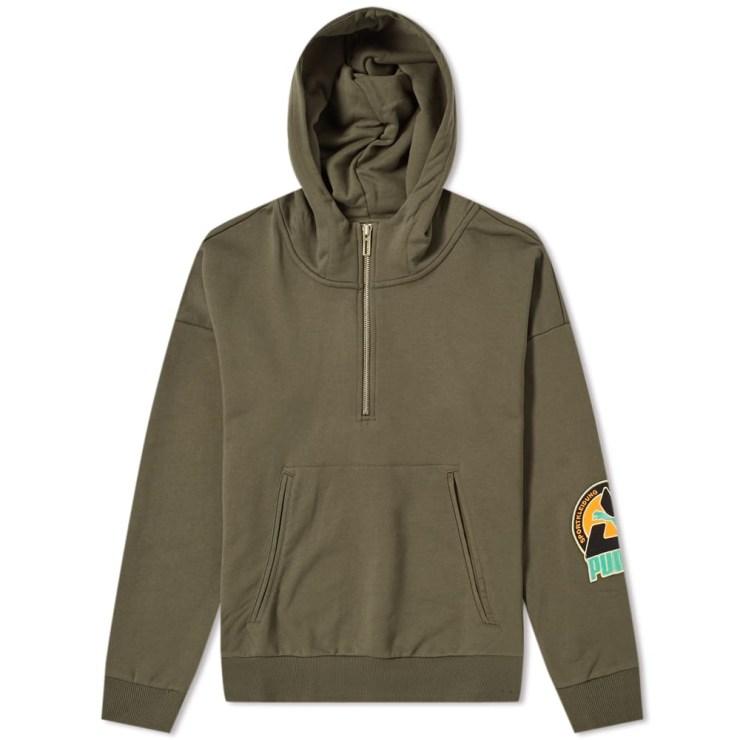 Puma x Han Kjobenhavn Overhead Sweatshirt Hoodie in Khaki Olive Green