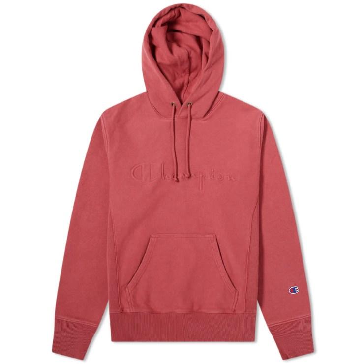 Champion Reverse Weave Logo Garment Dyed Hoody 'Red'