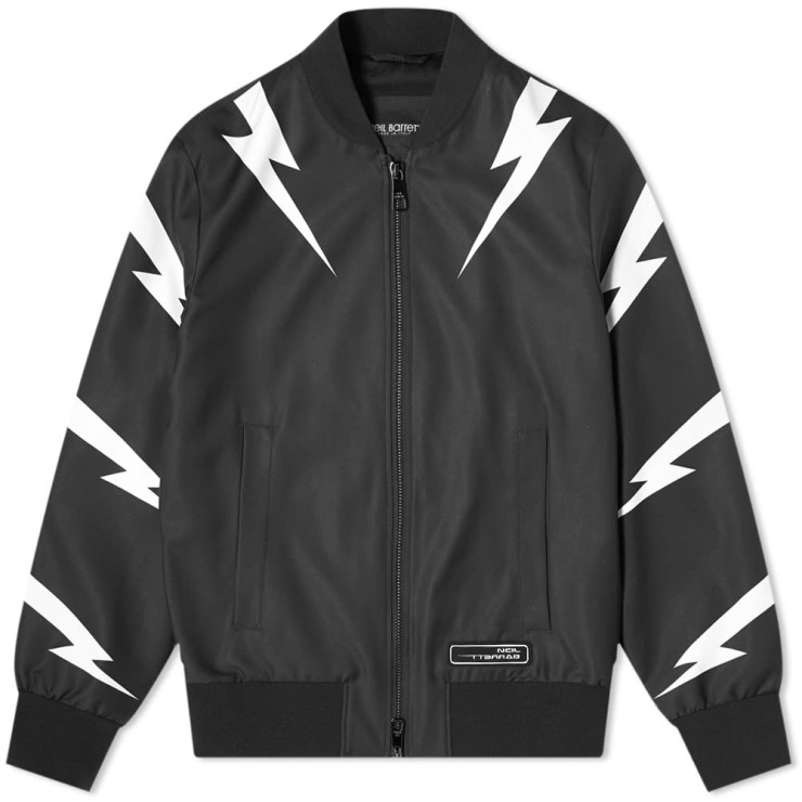 Neil Barrett Tiger Bolt Satin Bomber Jacket 'Black'