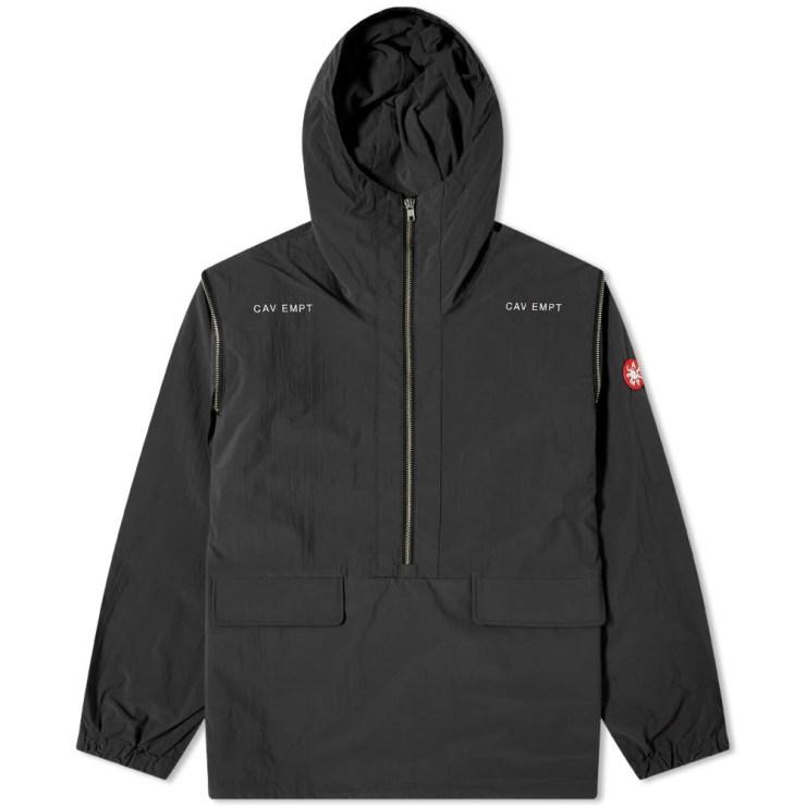 Cav Empt Concealed Sleeve Hooded Half-Zip Jacket 'Black'