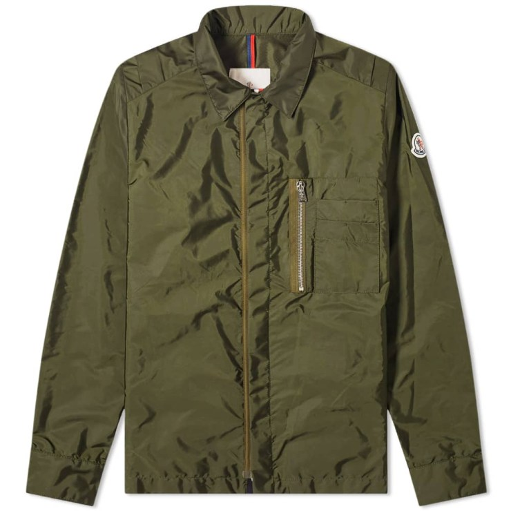 Moncler Nylon Logo Zip Pocket Overshirt 'Green'