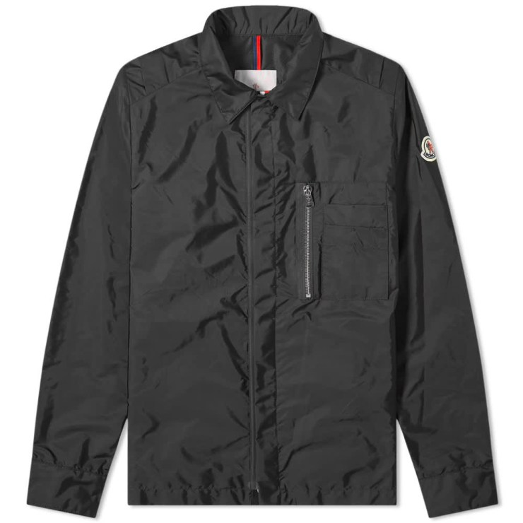Moncler Nylon Logo Zip Pocket Overshirt 'Black'