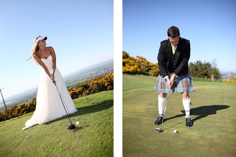 golfing bride and groom