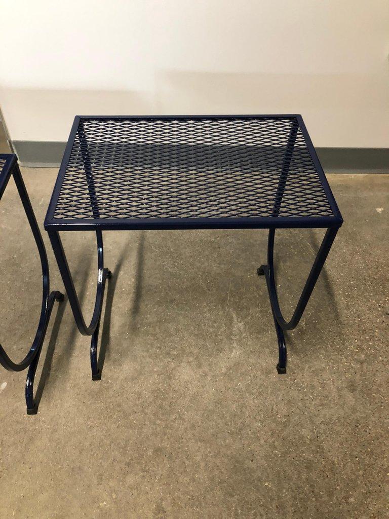 mid century modern john salterini navy wrought iron s 3 stacking patio tables