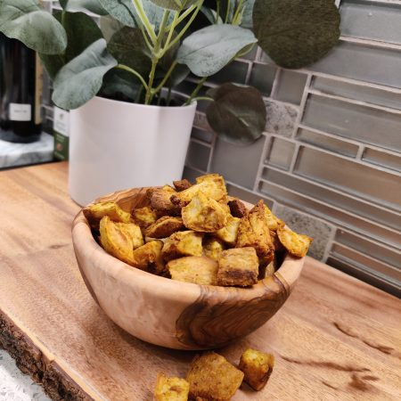 Maple-Curry Sweet Potato Croutons