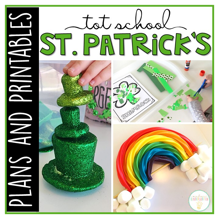 Tons of St. Patrick's Day themed activities and ideas. Weekly plan includes books, literacy, math, science, art, sensory bins, and more! Perfect for tot school, preschool, or kindergarten.